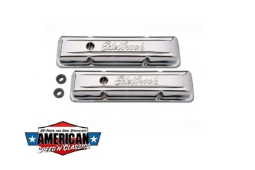 Ventildeckel Edelbrock Chevrolet Small Block -1986 Chrom Signature Serie