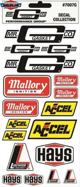 Aufkleberset Mr.Gasket Hays Mallory Accel Lakewood Decal Set
